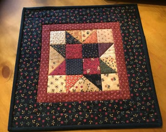 Quilted Table Topper / Candle Mat / Primitive / Country Decor/ Handmade/ / Item #2043