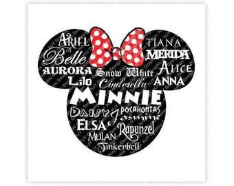 Disney, Minnie, Mickey, Mouse, Head, Ears, Icon, Bow, Names, Illustration, TShirt Design, Cut File, svg, pdf, eps, png, dxf