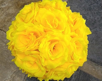 Yellow Rose Flower Ball Pomander Wedding decoration Ball Silk Rose Kissing Ball Faux Flowers/Mutiple sizes/Aisle decor/ Centerpiece