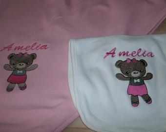 Ballerina Princess Bear Personalized Infant Toddler Baby Blanket & Bib Set  Any color