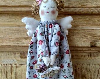 Blue floral fabric Angel doll