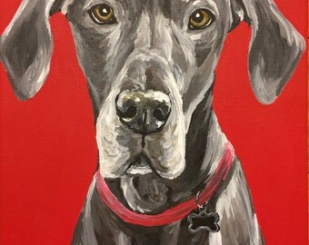 Great Dane art print from original great dane canvas painting