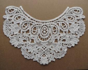 Natural beige or off-white cotton guipure lace applique / patch / front 1 piece