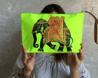 Elephant Bright Green Clutch Bag / All day bag / Organizer Bag / Gift / School / Spring Bag / Makeup Bag