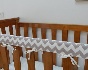 grey chevron cot crib rail cover teething pad gray 100 cotton fits most cots including
