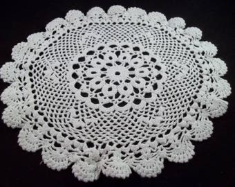 Beautiful Vintage Handmade Crochet Doily  off white 9""
