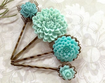 Something Blue Floral Hair Clips