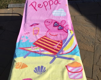 One Peppa Pig Chillin at the Beach Towel - Personalized Beach Towel