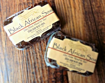 Black African Soap - Face Scrub - Exfoliating - Deep Clean - Acne Prone Skin - Reduces Inflammation - Fades Discoloration - Anti-aging