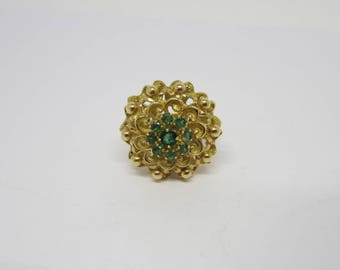 18k Yellow Gold Emerald Ring, Emerald Cluster Ring, May Birthstone