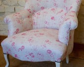 A Vintage French Louis Philippe Tub Chair in PEONY and SAGE Charlotte