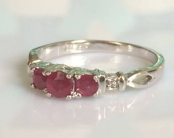 Vintage Ruby and Diamond Ring in 10K White Gold