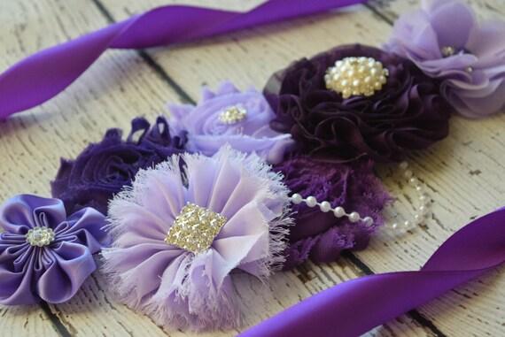 Maternity sash belt, Shades of purple Sash , sash,  flower Belt, maternity sash, baby shower gift