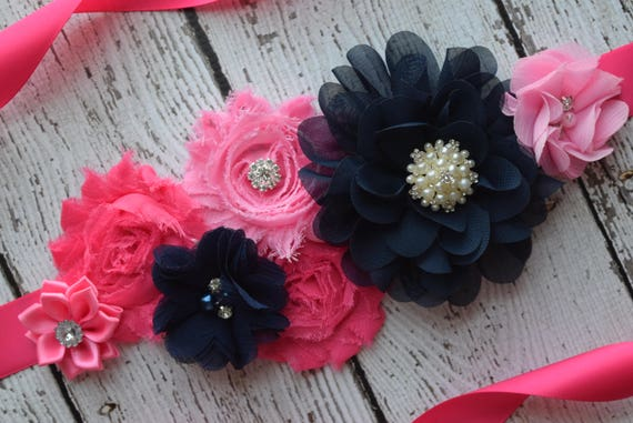 Flower Sash,  pink dark navy Sash , flower Belt, maternity sash, hot pink sash
