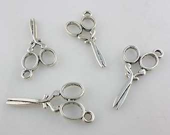 Silver scissor charms 3D  8 charms   14x29 mm