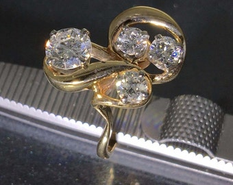 Vintage 14k Yellow gold natural round Diamond Fancy cluster ring 1.00ctw
