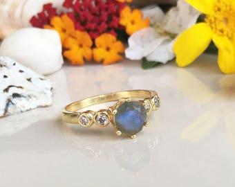20% off- SALE!! Labradorite Ring - Grey Ring - Genuine Gemstone - Gold Ring - Stacking Ring  - Tiny Ring - Rainbow Ring - Dainty Ring