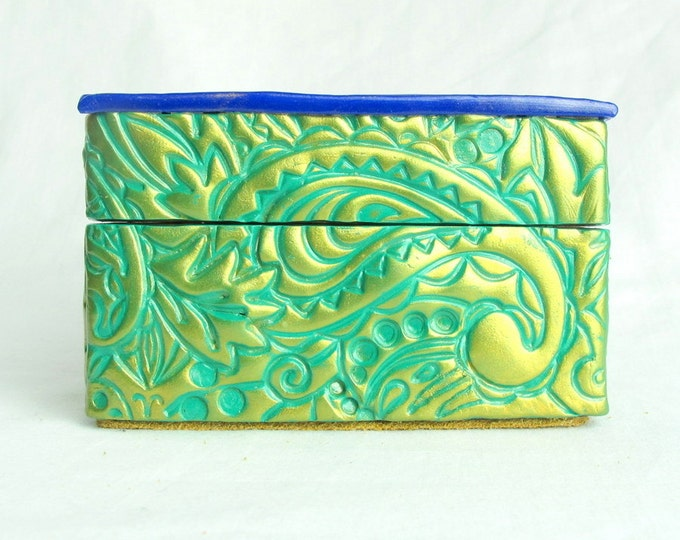 Handcrafted Wooden & Bright Green Polymer Clay Treasure and Gift Box