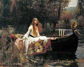 "The Lady Of Shalott by John William Waterhouse, 8""x10.5"", Giclee Canvas Print"