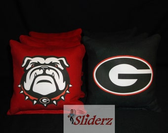 Free Shipping UGA Cornhole Bags Hand Crafted & Made Ships in 1-2  Business Days Receive Promo Code for 10% off when you Favorite this Shop