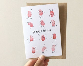 So Happy For You Greeting Card - Watercolour + Ink Illustration, 105 x 148mm, Congratulations, Celebration