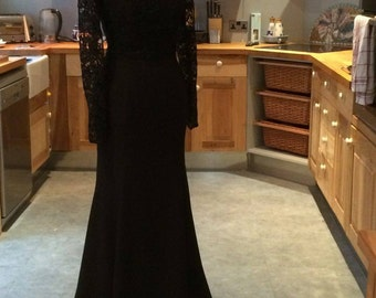 Black Guipure Lace evening gown