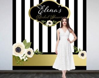 Modern Elegance Personalized Photo Backdrop -Black and White Stripes Photo Backdrop- Bridal Shower Photo Booth Backdrop, Custom Backdrop