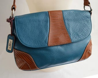 Vintage Liz Claiborne 90's Brown Teal Blue Leather Snake Embossed Shoulder Bag Purse Handbag Baguette