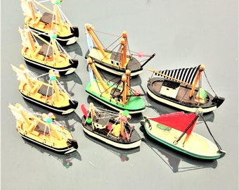 Set of Nine Hand Painted Wooden Fishing Boat Models #590c