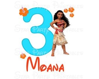 Digital File, Personalized, Moana, Princess, Digital Image, DIY for T shirt Printable Iron On Transfer Sticker custom Birthday Shirt image