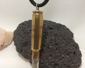 quartz bullet casing necklace