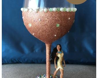 Disney's Pocahuntas Glitter Wine Glas