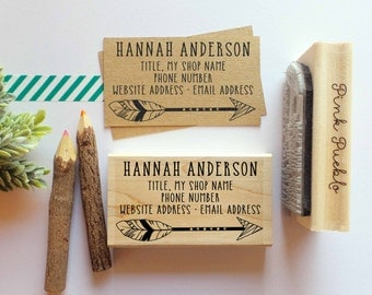 Personalized Feather Business Card Stamp, Business Card Rubber Stamp