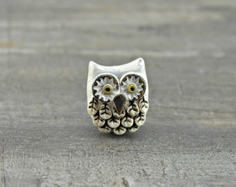 Snowy Owl Bead, handcrafted polymer clay owl bead