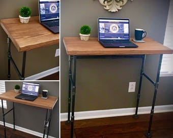 Industrial SEATED or STANDING DESK Iron Pipe & Solid Wood Freestanding Hall / Sofa Table Laptop Custom