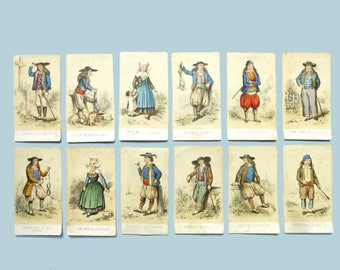 Antique chromolithographs of regional costumes of Brittany 19th France - color engravings old 1800 original vintage clothing