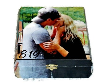 Custom Photo Memory Keepsake BoxTreasure Trove Jewlery Cigar Photo Recipe Card Picture Box Solid Wood