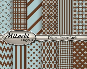60% OFF SALE Light Blue and Brown Digital Paper Pack - Commercial Use - Instant Download - M6