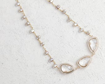 Bridal and Special Occasion Cubic Zirconia and Fresh Water Pearl Necklace
