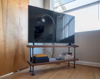 Solid walnut wood TV stand || Rustic industrial steel and wood TV console || steampunk media console || rustic pipe and wood tv stand