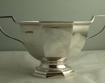 Antique Mappin & Webb Sterling Silver Sugar Bowl - 256g - Sheff. 1917