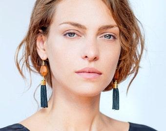 Black Tassel Earrings, Black Earrings, Black Tassel, Statement Earrings, Long Tassel Earrings, Long Earrings, Bohemian Earrings