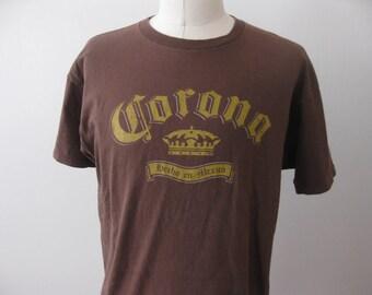 Corona Beer t-shirt shirt Adult XL Brown
