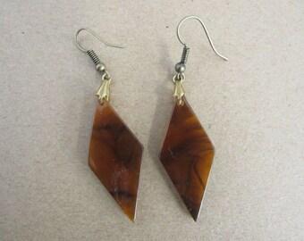 Vintage Rootbeer Lucite Triangle Dangle Earrings Pierced Ears