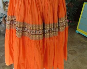 "Vintage Orange Bohemian Country and Western Full Skirt Knee Length 28"" Waist"