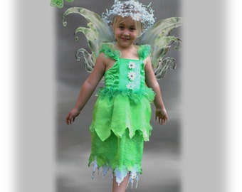 Green fairy dress, Woodlands fairy, Forest fairy dress, Tinkerbell costume, Green cake smash, Pixie costume, Forest photo shoot