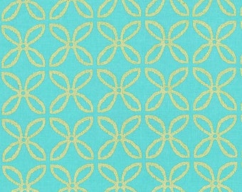 Clover Metallic Michael Miller fabric by the yard, aqua gold sparkle fabric, quilting sewing apparel cotton glitter fabric, glitz garden