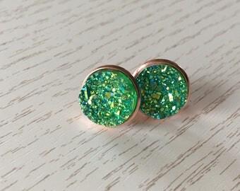 Sea green Stud Earrings in Rosé gold or Silver Star dust