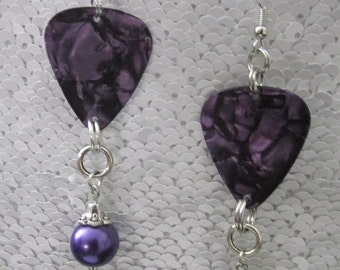 Pearly Purple Guitar Pick Earrings