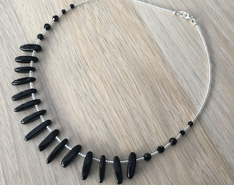 Onyx & Swarovski gemstone necklace with sterling silver findings